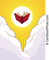 A vector illustration of a opened holy book shining and flying beyond the clouds. This illustration gives a calming and serene feel, as well as holy and grand appearance. Available as a Vector in EPS8 format that can be scaled to any size without loss of quality. Good for many uses & application, ...