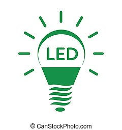 Shining LED bulb light icon, simple style - Shining LED bulb...