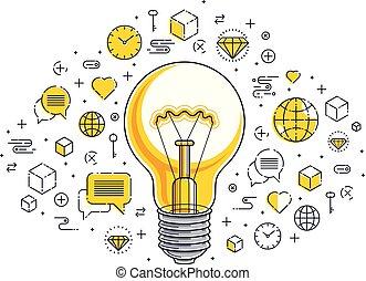 Shining light bulb and set of icons, business idea creative...