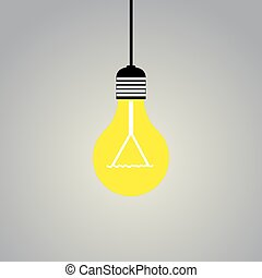 Shining light lamp on gray background