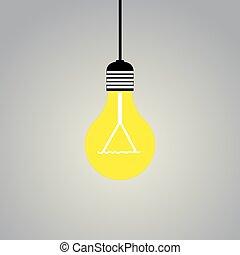 Shining light lamp on gray background