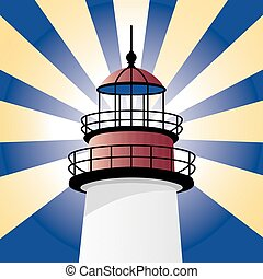 Shining Lighthouse - Vector design of the top of a...