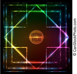 Shining lights rainbow colors vector frame - Shining lights...