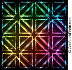 Shining neon lights rainbow squares background - Shining...