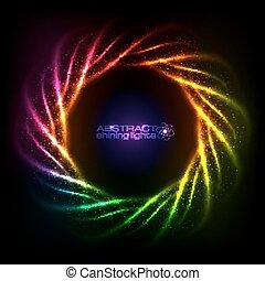 Shining neon rainbow lines cosmic frame