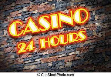 Shining neon sign of casino