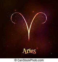 Shining neon zodiac Aries symbol