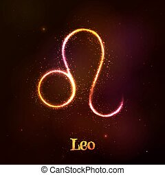 Shining neon zodiac Leo symbol