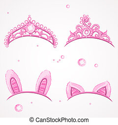 Shining pink girls tiaras with diamonds and carnival tabs on...