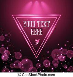 Shining pink neon light triangle frame design
