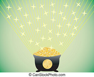Shining Pot of Gold St. Patricks Day Background