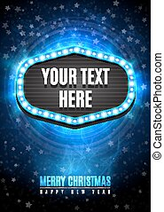 Shining retro light frame banner template in Christmas and Happy new year style on blue snow background with rays, stars.  Vector illustration EPS 10.