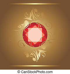 Shining ruby on the decorative background. Vector...