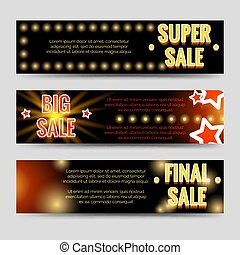 Shining sale horizontal banners template design