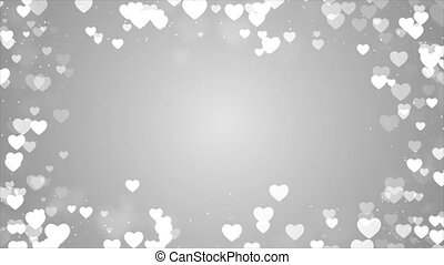 Shining sparkles Rectangle frame abstract Loop Heart Particles background For logo ,title or photo. Wedding, Birthday, Celebration, Carnival, Party anniversary.