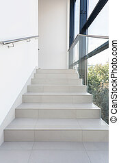 Shining stairs in modern building - Shining white stairs in...