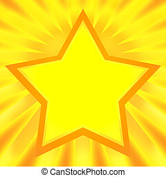 Shining Star - Bright decorative golden star on festive...