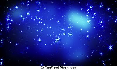 shining stars on blue falling. computer generated seamless loop abstract motion background.