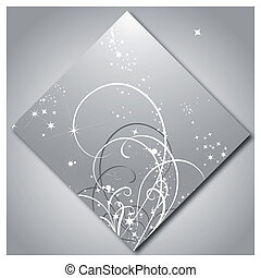 Shining stars with pattern on silver background