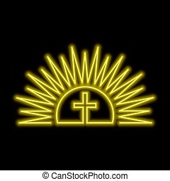 Shining sun and cross neon sign. Resurection concept. Bright glowing symbol on a black background.