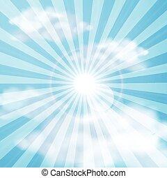 Shining sun in the cloudy blue sky