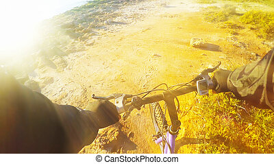 shining sun on a mountain bike
