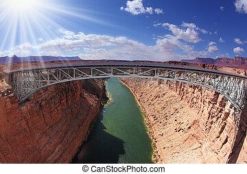 Shining sun on the bridge