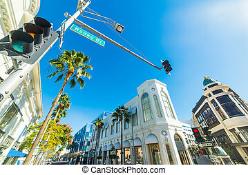 Shining sun over Rodeo Drive, California