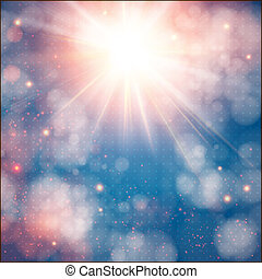 Shining sun with lens flare. Soft background with bokeh...