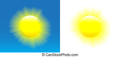 Shining sun with nice realistic rays over blue and white background. Vector illustration