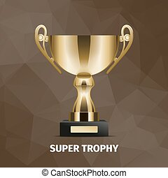 Shining Super Golden Trophy on Brown Background