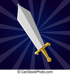 Shining sword - Cartoon weapon of Dark ages. Eps 10 vector...