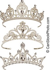 Shining Tiaras Set - Illustration of shining tiaras set