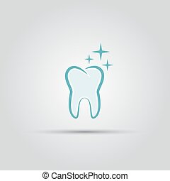 Shining tooth isolated vector logo