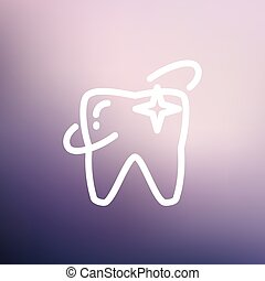 Shining tooth thin line icon