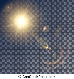 Shining vector sun with lens effects - Shining vector golden...