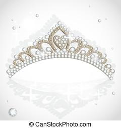 Shining vector tiara with diamonds