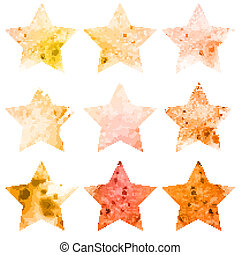 Shining watercolor stars icon set. Vector illustration
