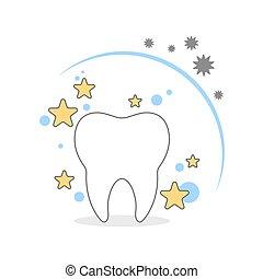 Shining white tooth.