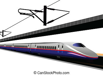 shinkansen, train., il, vecteur, balle