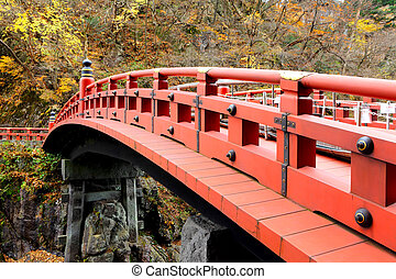 shinkyo, pont, rouges, japon