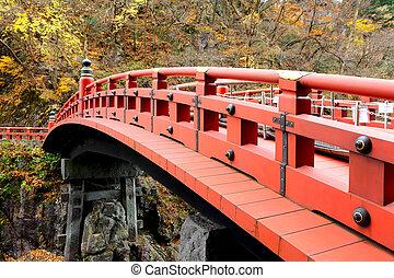 shinkyo, puente, rojo, japón