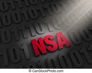 """A spotlight illuminates a bold, red """"NSA"""" hidding on a dark background of """"1""""s and """"0""""s."""