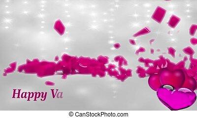shinning, tło, video, różowy, pętla, serca, cząstki, ...
