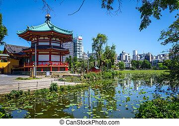 Shinobazu pond and Benten Hall Temple in Ueno, Tokyo, Japan
