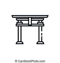 shinto, diseño, tori, puerta, vector