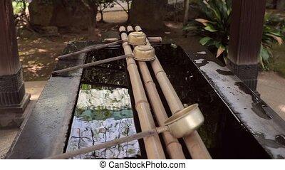 Shinto purification water basin - Water basin in a shinto...