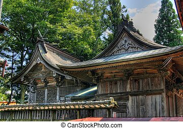 Shinto shrine roof in Japan - An historic shrine in the...