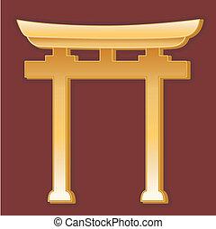 Shinto Symbol - Golden Torii Gate symbol of Shinto faith on...