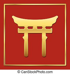 Shinto Symbol Golden Portal Red Background - Golden shinto...